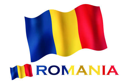Romanian emblem flag with text and copypace. Romanian flag illustration with Romania text and white space