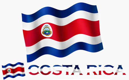 Costa Rican emblem flag with text and copypace. Costa Rican flag illustration with Costa Rica text and white space