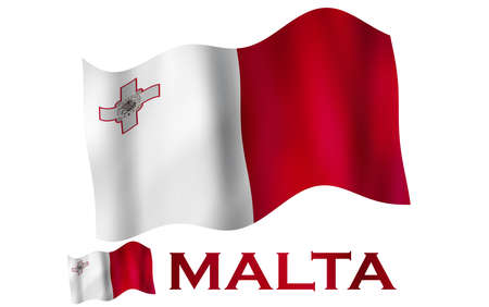 Maltese emblem flag with text and copypace. Maltese flag illustration with Malta text and white space