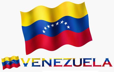 Venezuelan emblem flag with text and copypace. Venezuelan flag illustration with Venezuela text and white space
