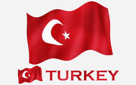 Turkish emblem flag with text and copypace / Turkish flag illustration with Turkey text and white space Standard-Bild