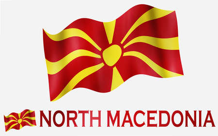 North Macedonia emblem flag with text and copypace / Macedonian flag illustration with North Macedonia text and white space