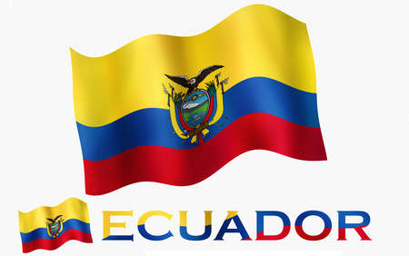 Ecuadorian emblem flag with text and copypace. Ecuadorian flag illustration with Ecuador text and white space