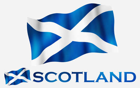 Scottish emblem flag with text and copypace / Scottish flag illustration with Scotland text and white space
