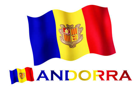 Andorran emblem flag with text and copypace. Andorran flag illustration with Andorra text and white space