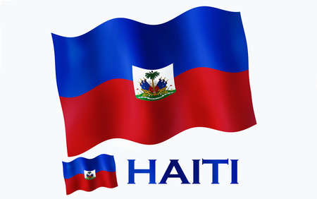 Haitian emblem flag with text and copypace. Haitian flag illustration with Haiti text and white space