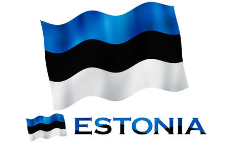 Estonian emblem flag with text and copypace. Estonian flag illustration with Estonia text and white space
