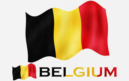 Belgian emblem flag with text and copypace / Greece flag illustration with Greece text and white space Standard-Bild
