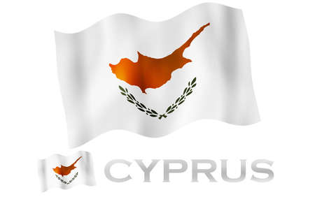 Cypriot emblem flag with text and copypace. Cypriot flag illustration with Ciprus text and white space