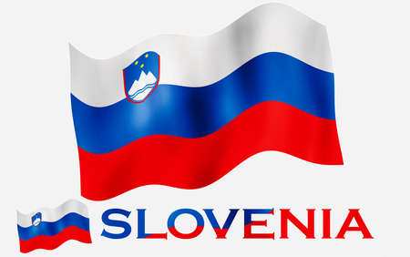 Slovenian emblem flag with text and copypace. Slovenia flag illustration with Slovenia text and white space