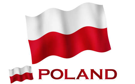Polish emblem flag with text and copypace. Polish flag illustration with Poland text and white space