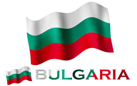 Bulgarian emblem flag with text and copypace. Bulgarian flag illustration with Bulgaria text and white space