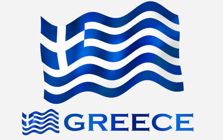 Greek emblem flag with text and copypace / Greece flag illustration with Greece text and white space