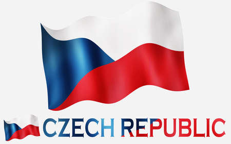 Czechian emblem flag with text and copypace / Czech Republic flag illustration with Czech Republic text and white space
