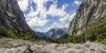 View of the sky between mountains in Cochamo, Chile Stock Photo