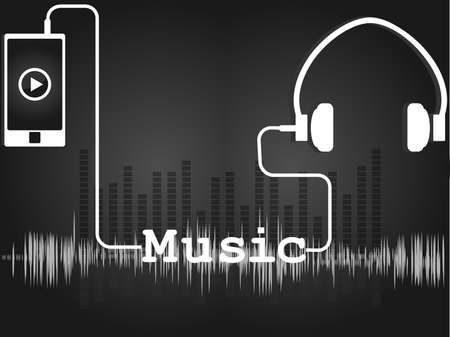 music player: Music Player in gray with headphones and a telephone, and a sound track