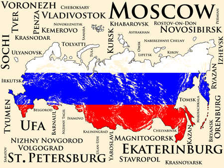 dilapidated: Russia map with flag. List of cities with the largest population Illustration