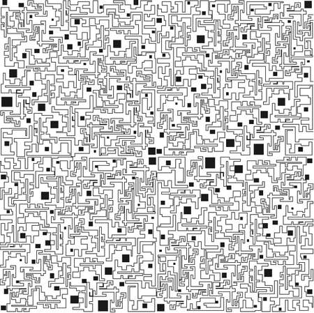 Abstract background in the form of black lines and squares on a white background