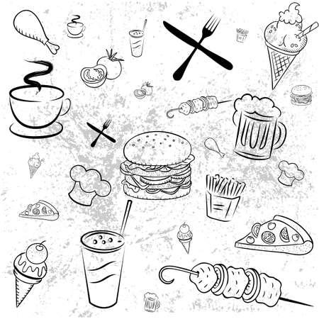 Fond d'écran, Menu pour les pizzerias et restaurants. produits de l'image. Vecteurs