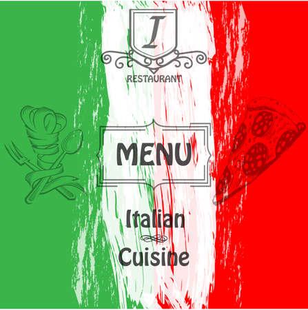 Menu. Copertura per ristoranti e caffè cucina italiana. Logo.