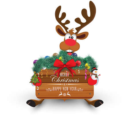 Happy New Year and Merry Christmas. Wooden frame decorated with fir branches, balls and serpentine. Funny deer. Christmas card.