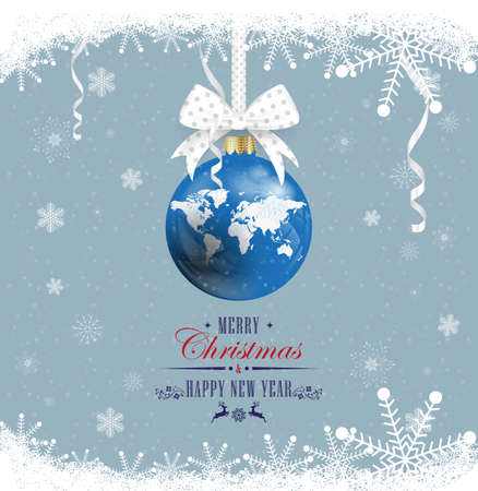 Happy New Year and Merry Christmas. World map. New Year's ball on a white ribbon with a bow on a snowy background. World map. Illustration