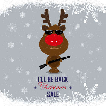 be ill: Happy New Year and Merry Christmas. Christmas discounts on the purchase of goods. Little deer with a gun in glasses reminiscent of the terminator. Ill be back. Banner SALE