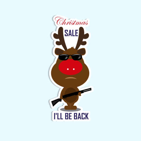 be ill: Happy New Year and Merry Christmas. Christmas discounts on the purchase of goods. Little deer with a gun in glasses reminiscent of the terminator. Ill be back. Sticker SALE