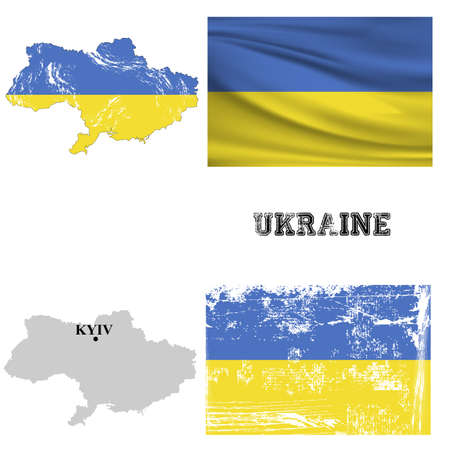 Map and flag of Ukraine in the ancient and modern style. Illustration