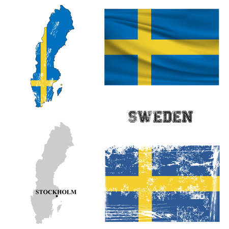 bandera de suecia: Map and flag of Sweden in the ancient and modern style.