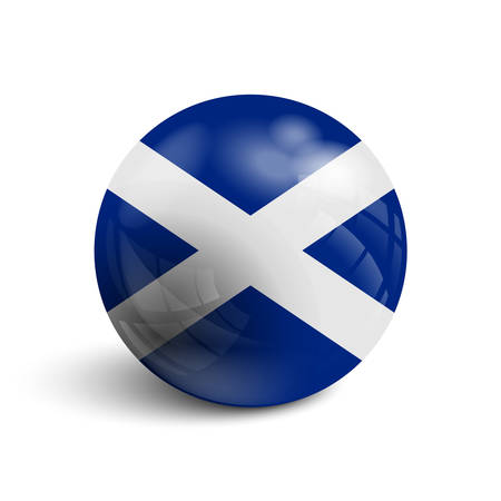 Realistic ball with flag of Scotland . Sphere with a reflection of the incident light with shadow. Illustration