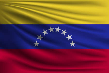 The national flag of Venezuela. The symbol of the state on wavy silk fabric. Realistic vector illustration.