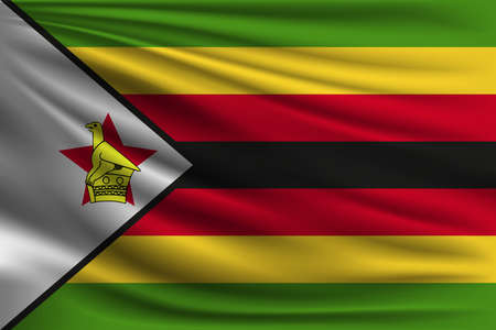 The national flag of Zimbabwe. The symbol of the state on wavy silk fabric. Realistic vector illustration.