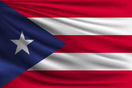 The national flag of Puerto Rico. The symbol of the state on wavy silk fabric. Realistic vector illustration.