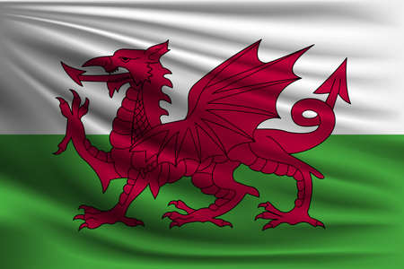 The national flag of Wales. The symbol of the state on wavy silk fabric. Realistic vector illustration.