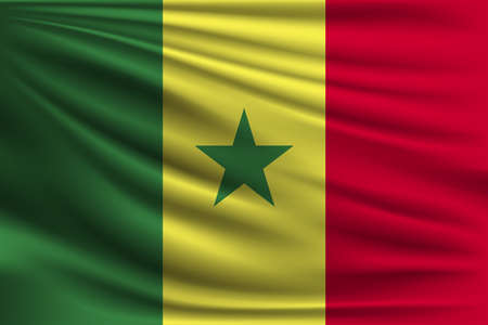 senegal: The national flag of Senegal. The symbol of the state on wavy silk fabric. Realistic vector illustration.