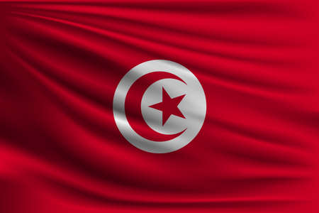 The national flag of Tunisia. The symbol of the state on wavy silk fabric. Realistic vector illustration.