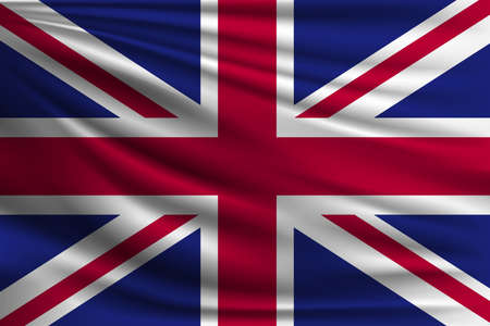 The national flag of Great Britain. The symbol of the state on wavy silk fabric. Realistic vector illustration.