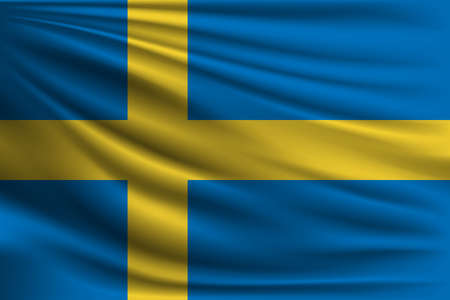 The national flag of Sweden. The symbol of the state on wavy silk fabric. Realistic vector illustration.