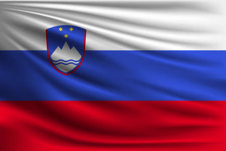 The national flag of Slovenia. The symbol of the state on wavy silk fabric. Realistic vector illustration.