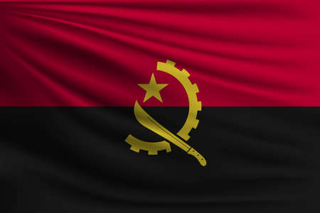 The national flag of Angola. The symbol of the state on wavy silk fabric. Realistic vector illustration.