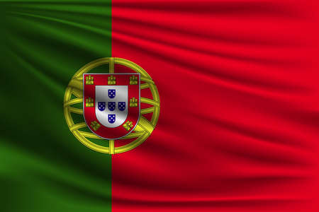 The national flag of Portugal. The symbol of the state on wavy silk fabric. Realistic vector illustration. Illustration
