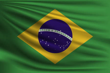 The national flag of Brazil. The symbol of the state on wavy silk fabric. Realistic vector illustration.