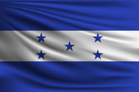 bandera honduras: The national flag of Honduras. The symbol of the state on wavy silk fabric. Realistic vector illustration. Vectores