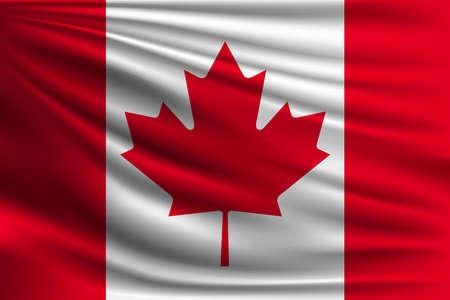 Le drapeau national du Canada. Le symbole de l'état sur le tissu en soie ondulée. Illustration vectorielle réaliste.