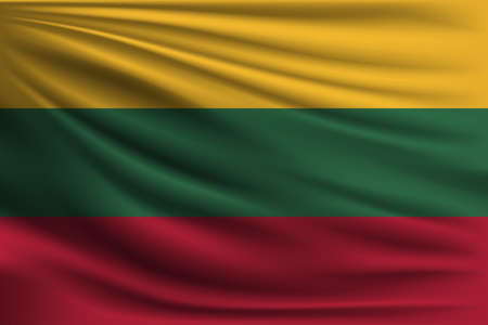 The national flag of Lithuania. The symbol of the state on wavy silk fabric. Realistic vector illustration. Illustration