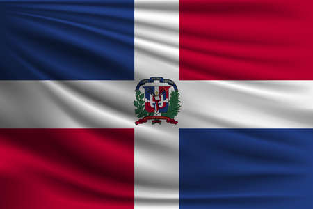 The national flag of Dominican republic. The symbol of the state on wavy silk fabric. Realistic vector illustration. Çizim