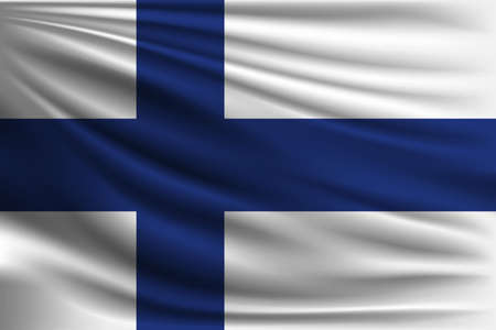 made in finland: The national flag of Finland. The symbol of the state on wavy silk fabric. Realistic vector illustration.