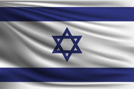 aviv: The national flag of Israel. The symbol of the state on wavy silk fabric. Realistic vector illustration.