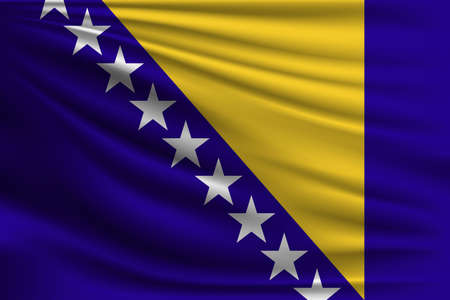 The national flag of Bosnia and Herzegovina. The symbol of the state on wavy silk fabric. Realistic vector illustration.